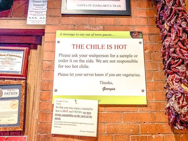 Tomasita's hot chile warning