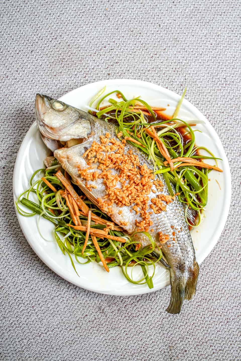 Steamed Whole Fish with Ginger, Scallion and Crispy Garlic (Cá Hấp Hành Gừng)
