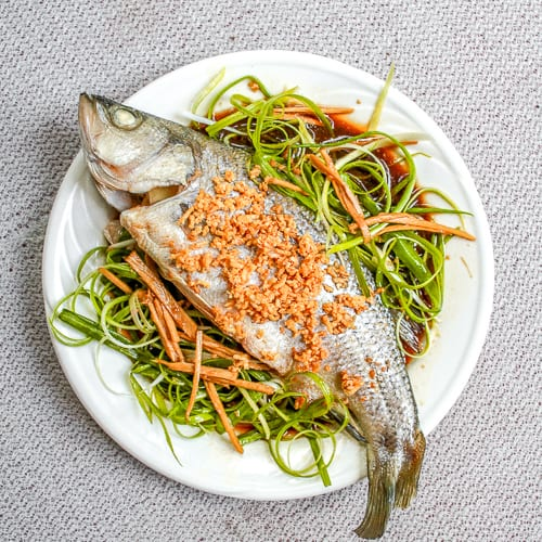 Steamed Fish with Ginger, Scallion and Garlic