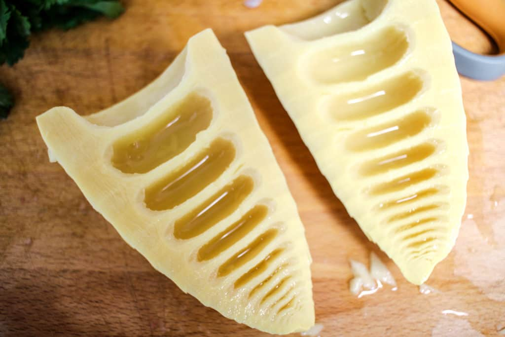 bamboo shoots cut in half