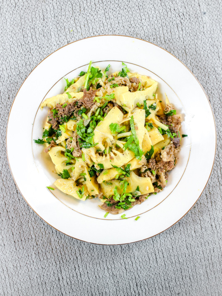Beef and bamboo shoot stir fry, or mang xao thit bo, overhead view