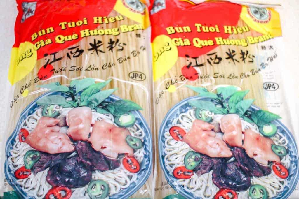 Vermicelli packets for Spicy Vietnamese Beef Noodle Soup (Bún bò Huế)