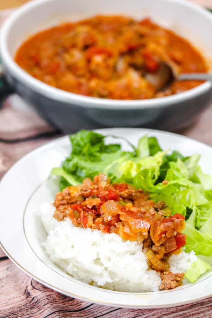 Vietnamese Ground Pork in Tomato Sauce (Thịt Băm Sốt Cà Chua) with rice and lettuce