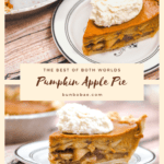two images of pumpkin apple pie with text
