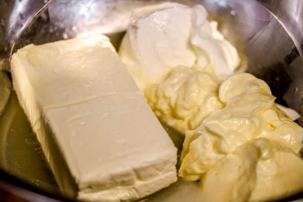 a block of cream cheese with sour cream, mayo, lemon juice etc for crab rangoon dip