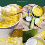 Collage of bowl of sweet corn pudding and coconut milk at different angles
