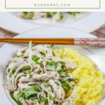 Shredded chicken salad and yellow sticky rice in a white bowl
