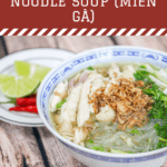 Bowl of noodle soup with chicken, scallion, cilantro and fried shallots