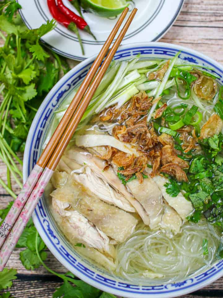 Birds eye view of bowl of noodle soup with chicken, scallion, cilantro and fried shallots