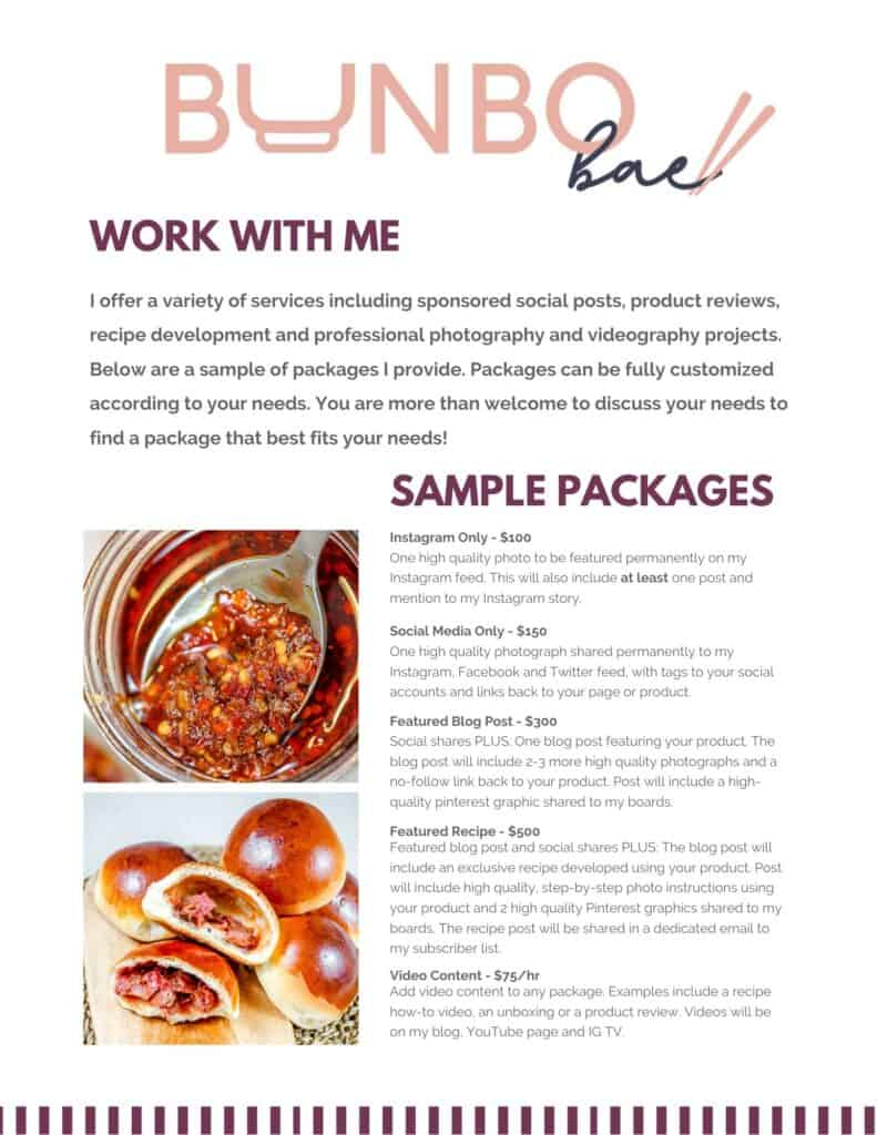 A copy of Suzanne's latest media kit, which includes services