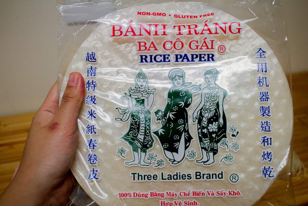 three ladies (ba co gai) brand rice paper for spring rolls
